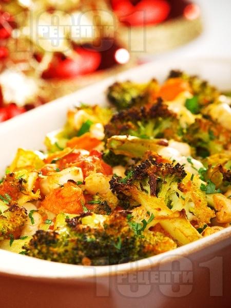 Печен боб на фурна с броколи - снимка на рецептата